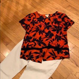 JCREW short sleeved floral print blouse